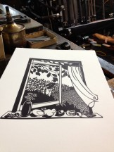 I enjoyed printing a piece by Nikki McClure she donated to Kim Langston's Tiny House Big Heart campaign.