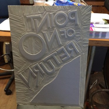 Nice big linoleum block for the TEDxOlympia poster I designed and printed in a limited edition.