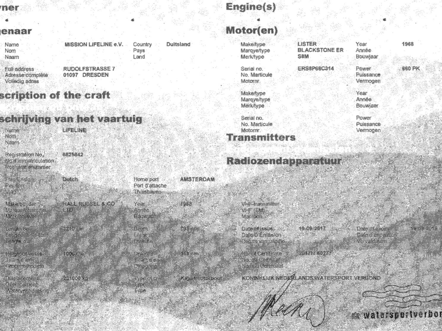 MV Lifeline registration