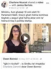 charlene zammit promoting Owen Bonnici