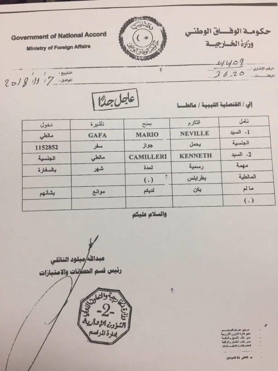 Neville Gafa visa invitation from Libya Ministry