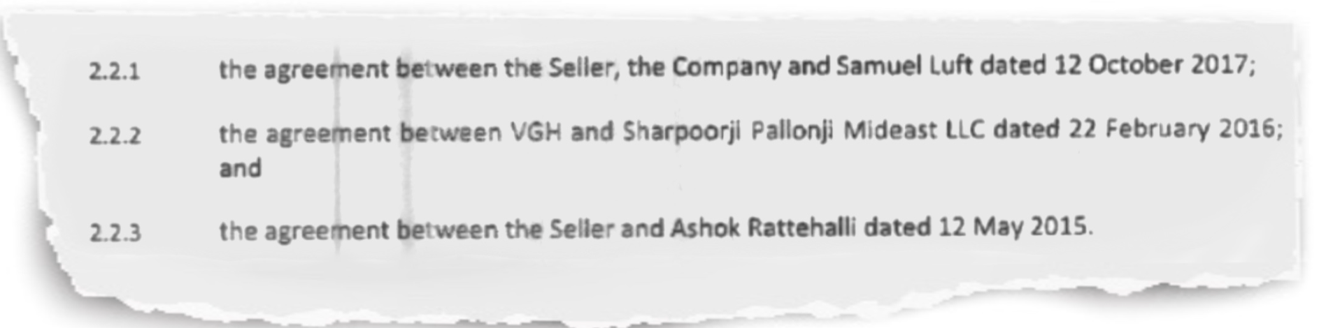 """Excerpt from the Share Purchase Agreement referring to persons with rights over shares in VGH (""""encumbrances"""")"""