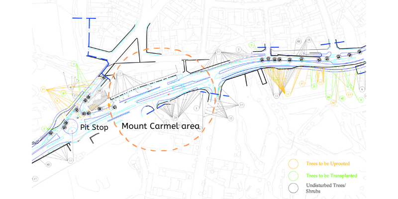 Central Link Map Trees Mount Carmel area