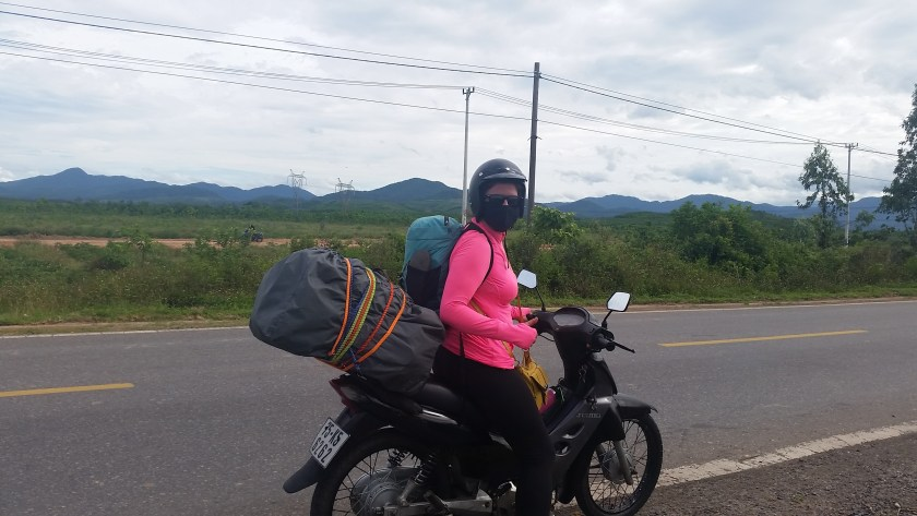Breada giving the bike a rest on The Ho Chi Minh Road!