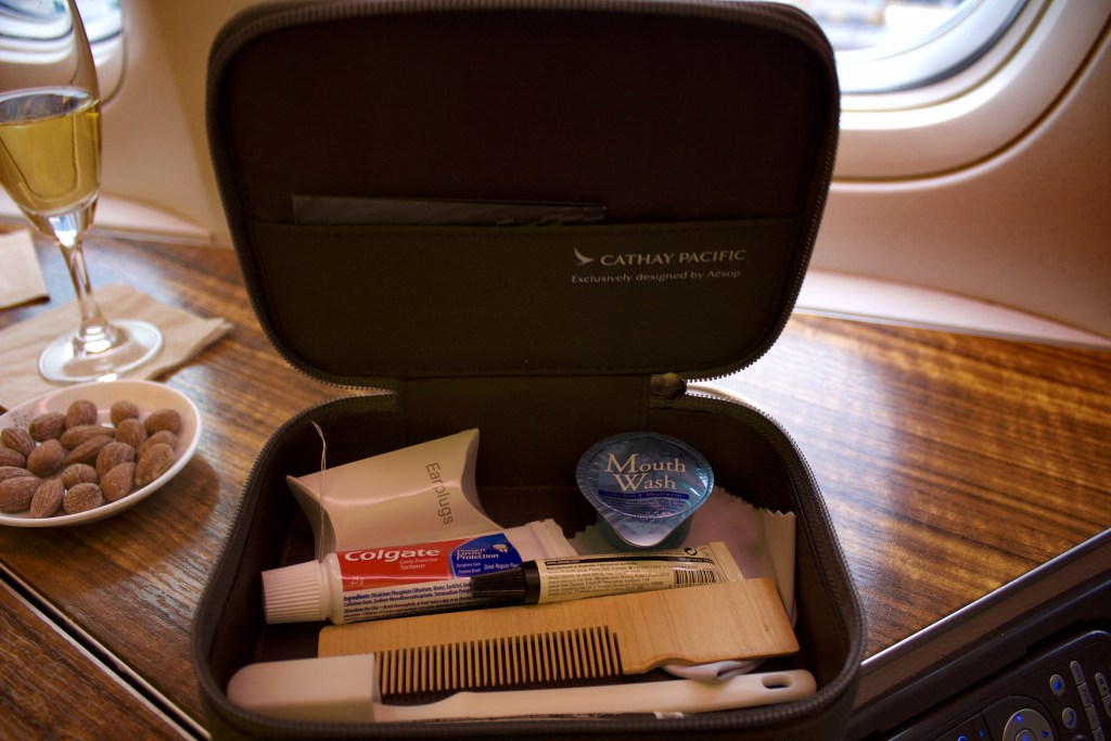 Cathay Pacific First Class Amenity Kit.