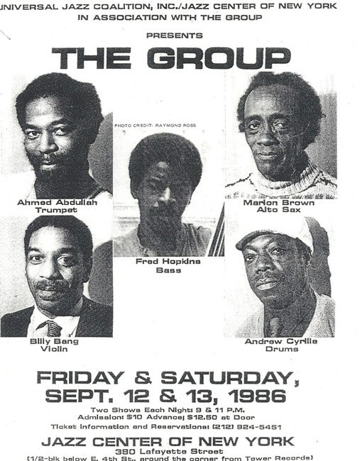 The Group | Ahmed Abdullah | Marion Brown | Billy Bang | Sirone | Fred Hopkins | Andrew Cyrille | Live | no business records