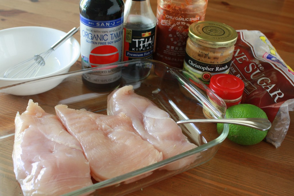 Chicken and marinade ingredients