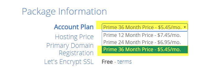 Bluehost package prices
