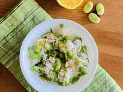 Rice and Fava Beans Salad with Lemon Vinaigrette