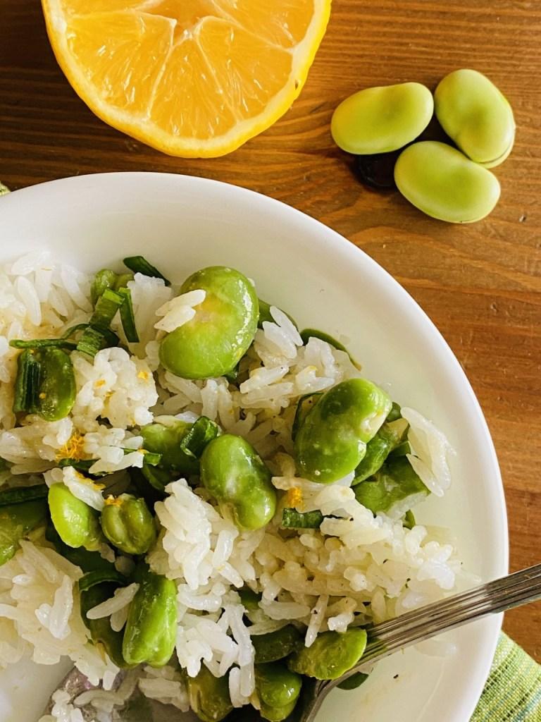 Rice and Fava Bean Salad with Lemon Vinaigrette