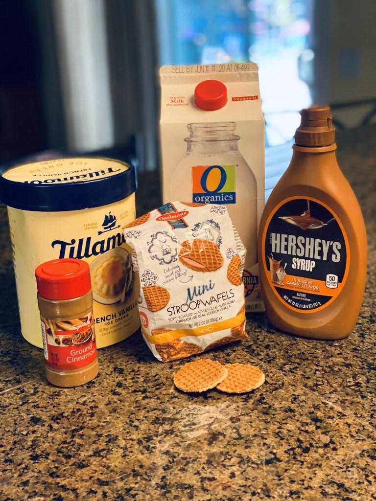 Ingredients for the Stroopwafel Milkshake