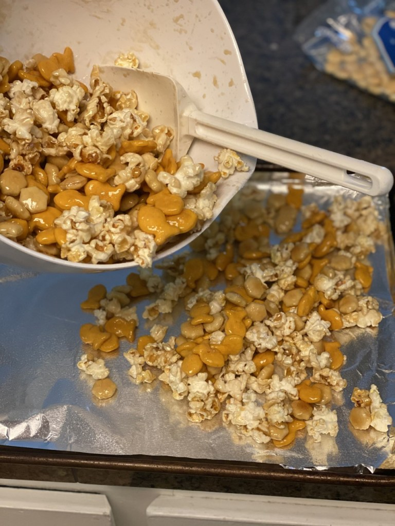 baking sheet for the snack mix