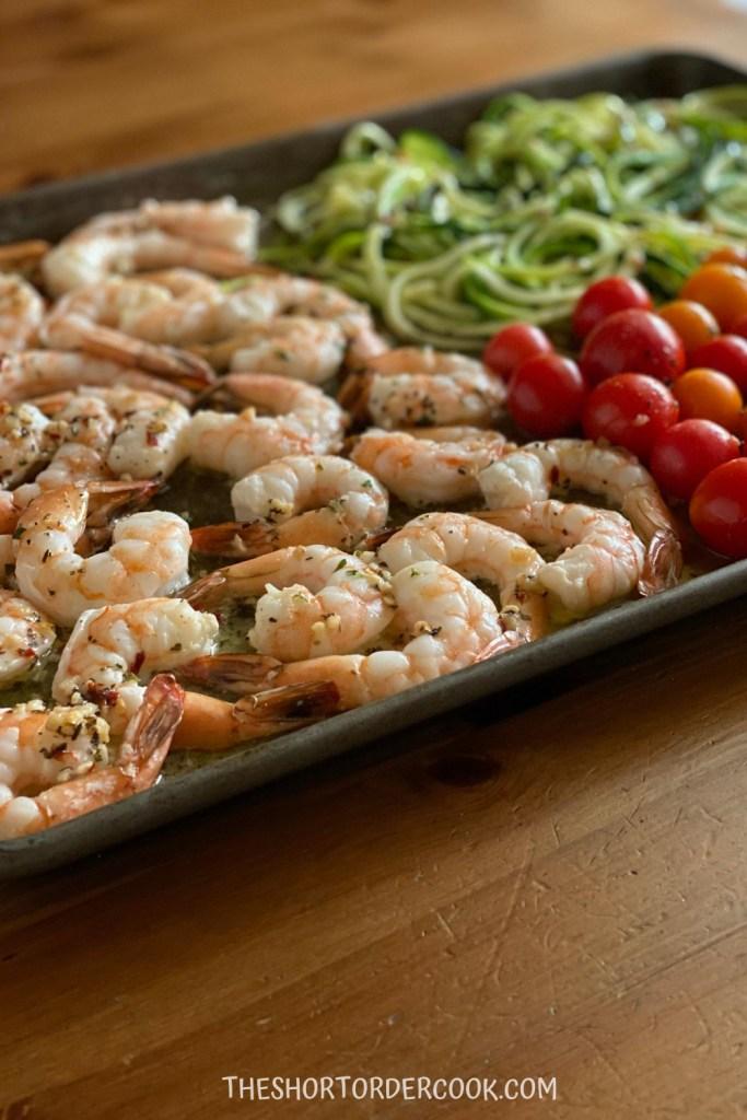 sheet pan shrimp scampi done
