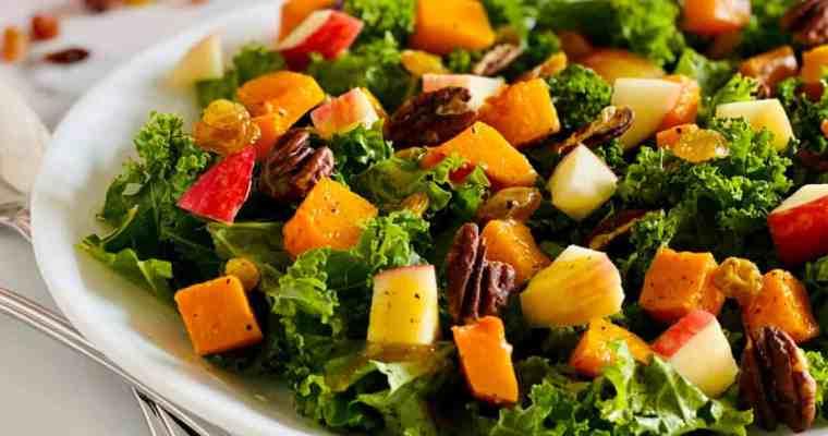 Butternut Squash, Apple, and Kale Salad with Honey Dijon Vinaigrette