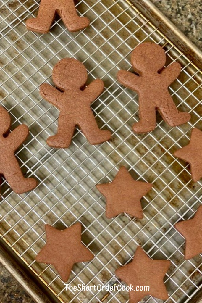 Chocolate Gingerbread Cookies on wire rack cooling