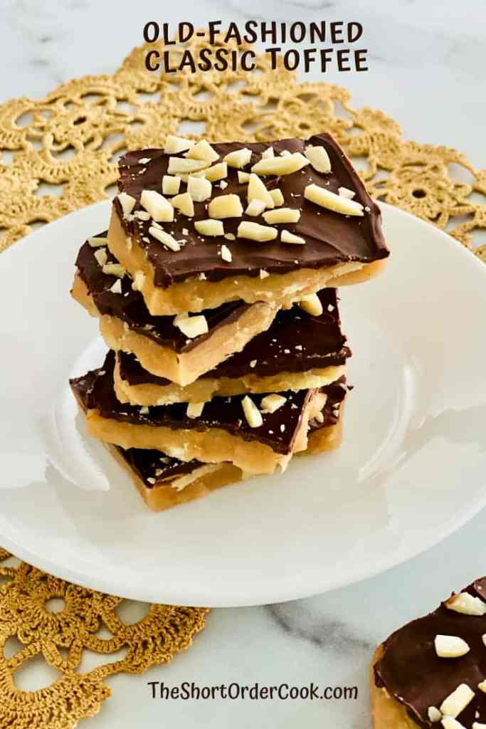 Old-fashioned Classic Toffee plated and stacked