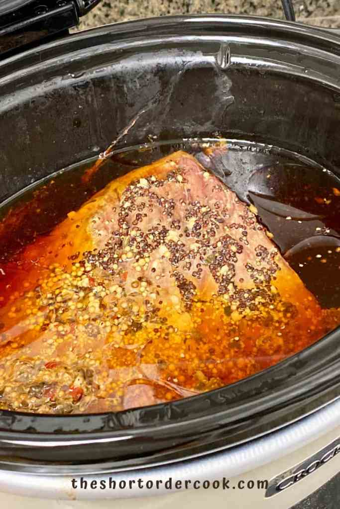 Slow Cooker Corned Beef cooked in crock pot