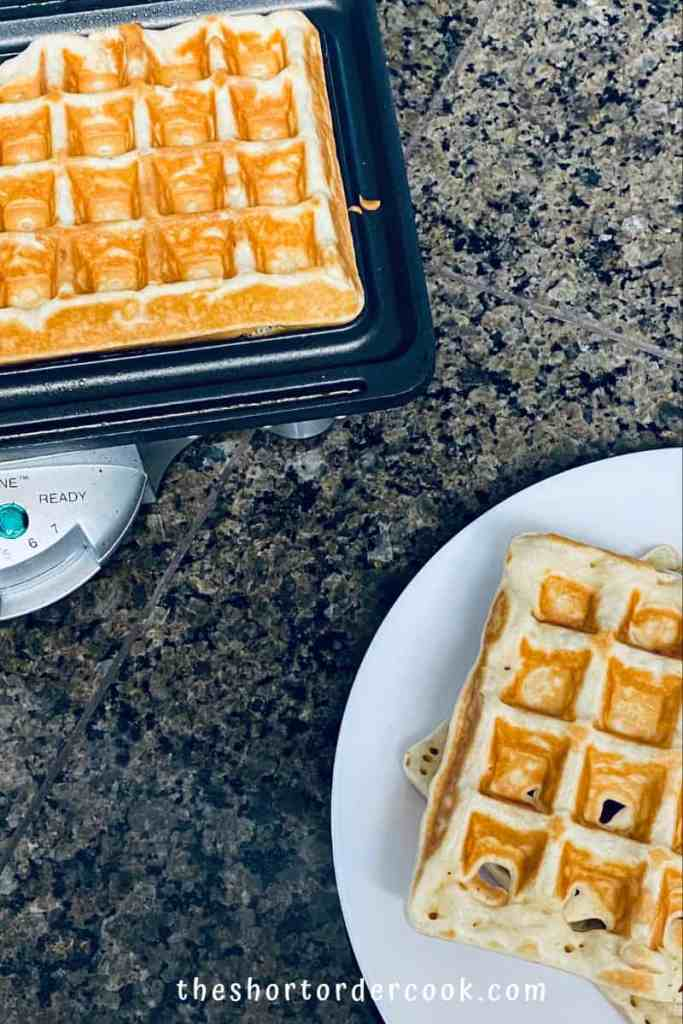 Perfectly Crispy and Chewy Mochi Waffles ready in Belgian waffle iron