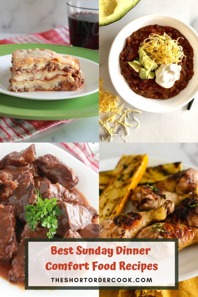 Best Sunday Dinner Comfort Food Recipes PIN 4 recipe images for keto lasagna, beef and bacon chili, lemon chicken, and instant pot short ribs with gravy