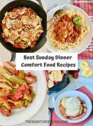 Best Sunday Dinner Comfort Food Recipes PN1 4 recipe images for greek chicken thighs, chicken cacciatore, italian sausage and peppers and peach strawberry cobbler
