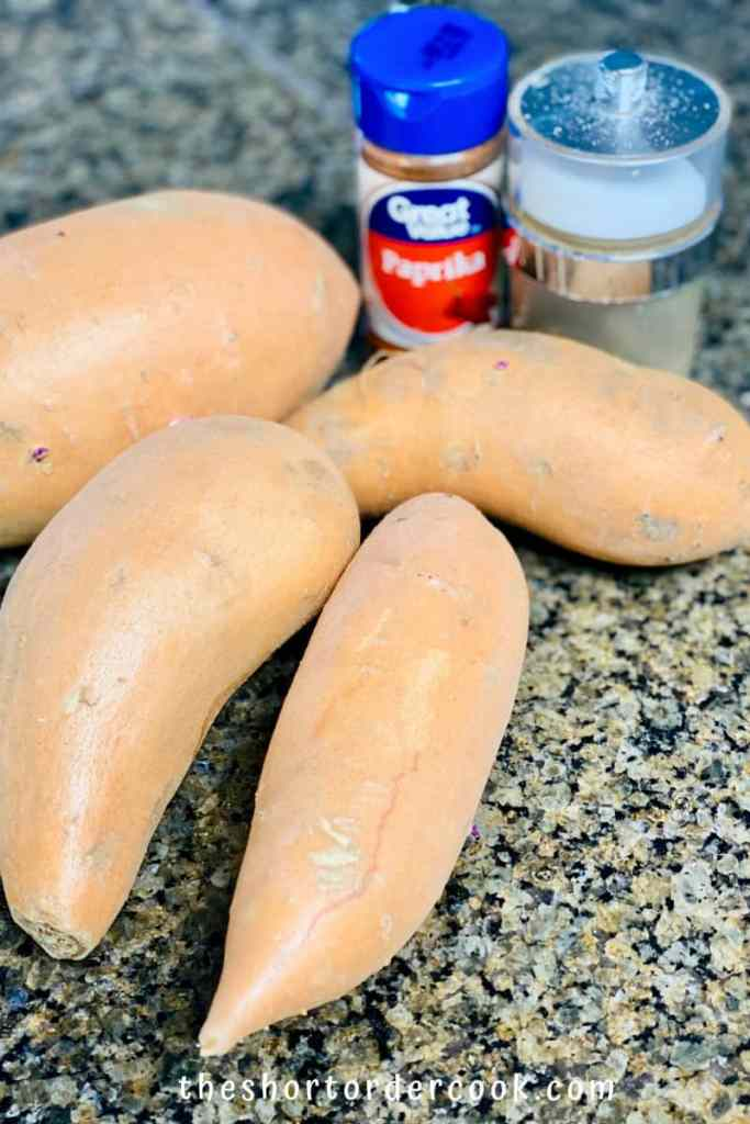 Deep Fried Sweet Potato Fries ingredients sweet potatoees paprika salt and pepper