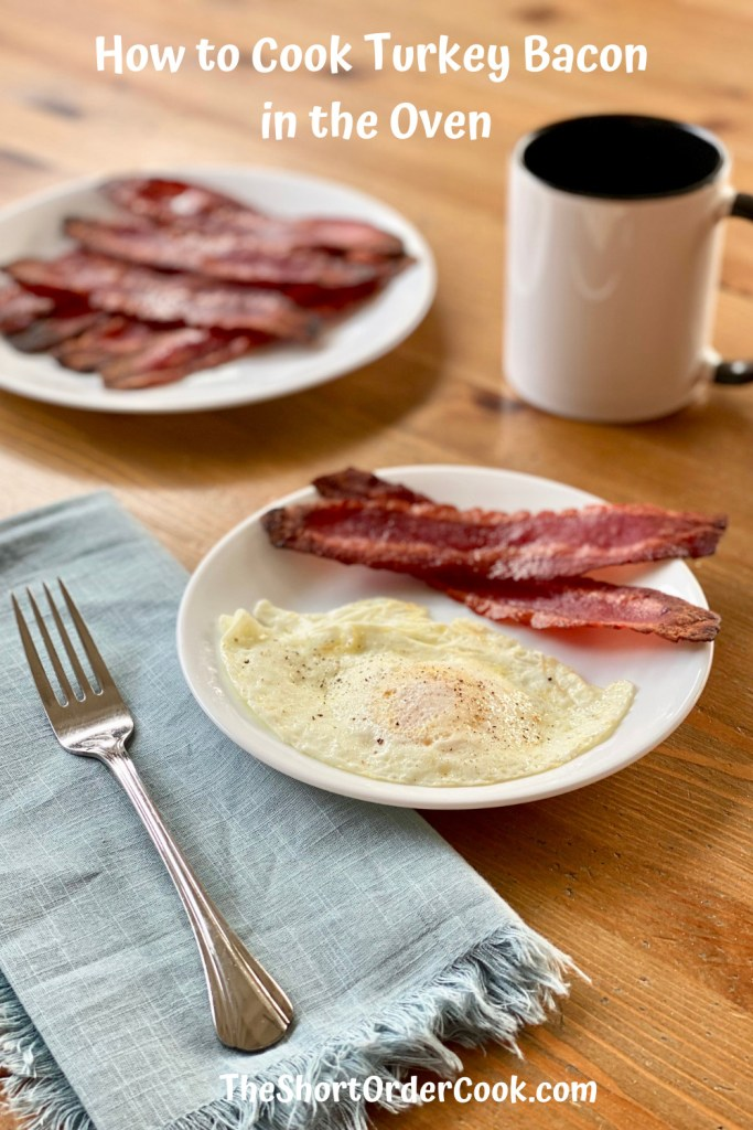 How to Cook Turkey Bacon in the Oven PN1 a plate of cooked turkey bacon and another plate with a fried egg and bacon on it ready to eat