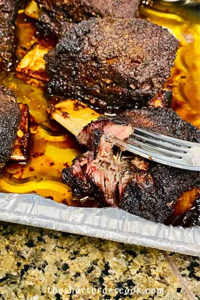 Smoked Beef Short Ribs ready in the tray and fork tender