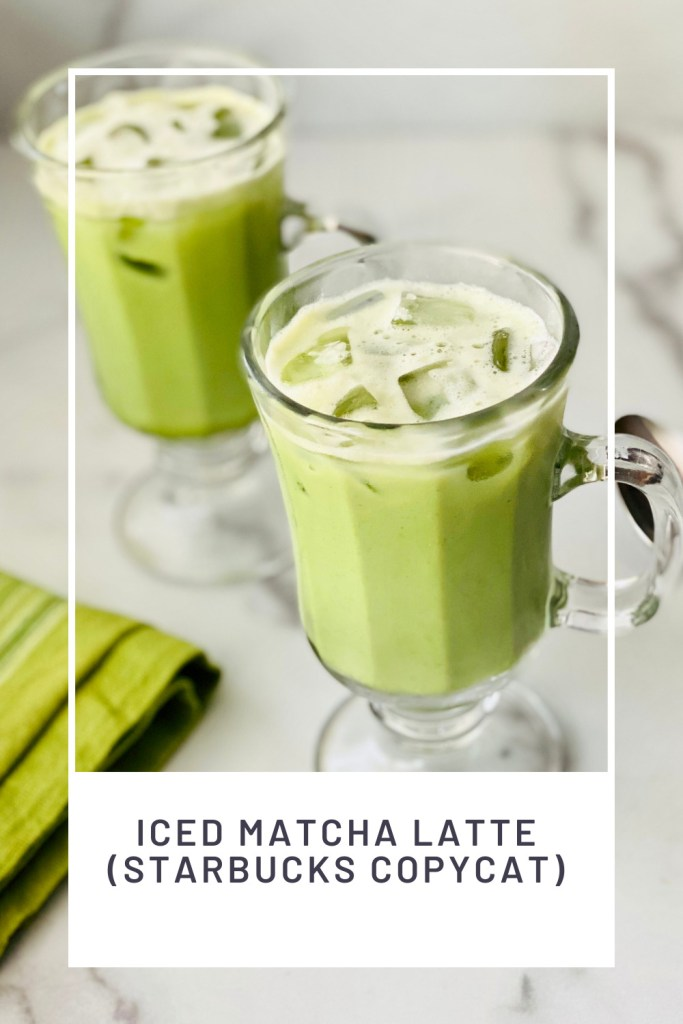 iced Matcha Latte (Starbucks Copycat) PIN REDO two glasses filled with ice and cream and green match tea ready to drink and green cloth napkin