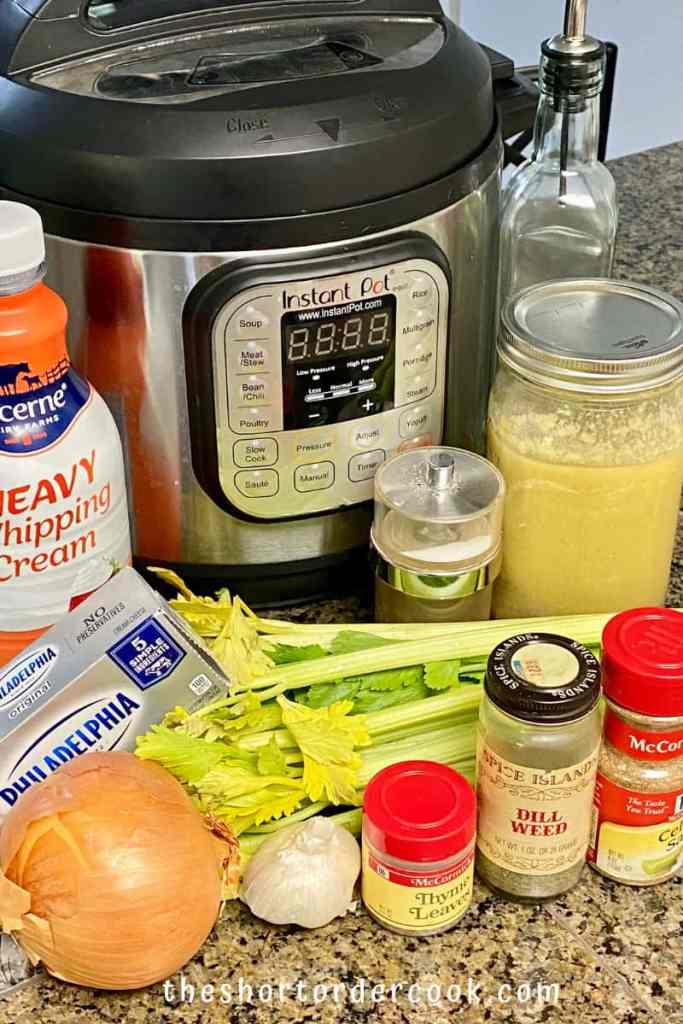 Instant Pot Cream of Celery Soup ingredients includng celery spices onion broth cream cream cheese and the instant pot