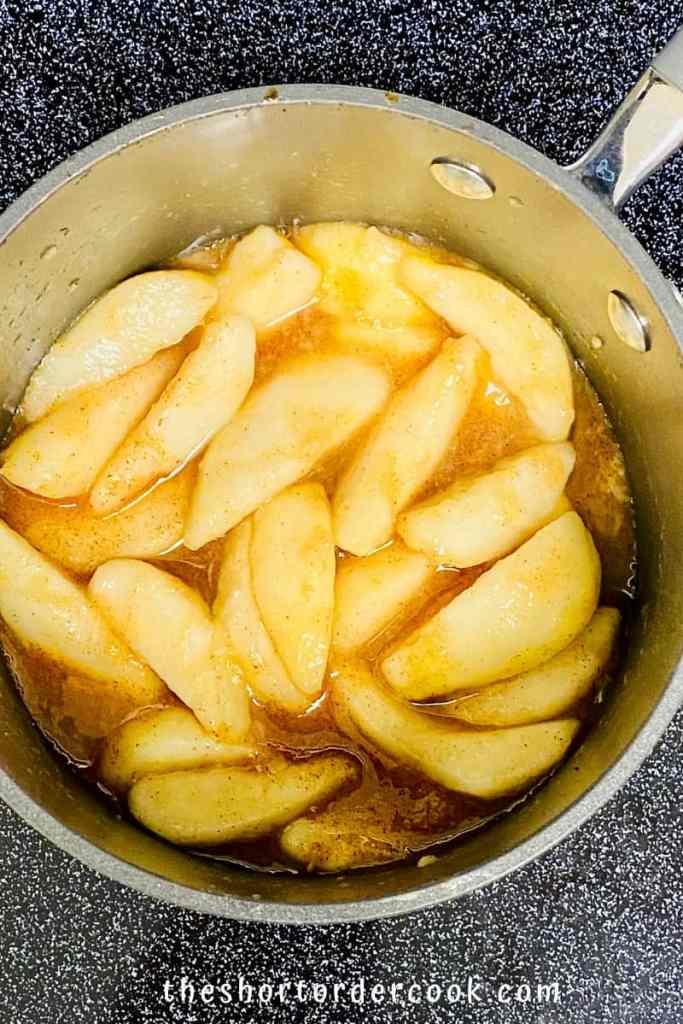 Stewed Pears bring pears to a boil and then cover with a lid