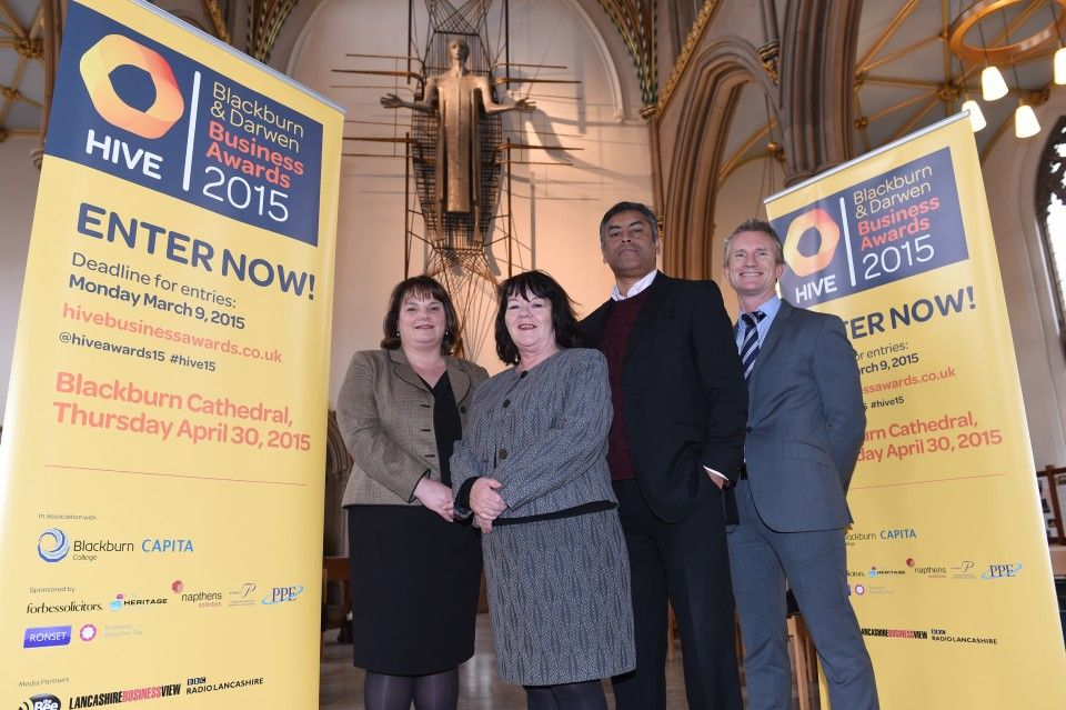 Nicola Clayton, Director of business development and external engagement at Blackburn College, Councillor Kate Hollern, leader of Blackburn with Darwen Council, Khalid Saifullah – Chair of Hive Network and Director of Star Tissue UK and Lee Conroy , Operations Director at Capita