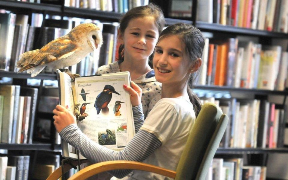Library: 2 girls reading a bird book