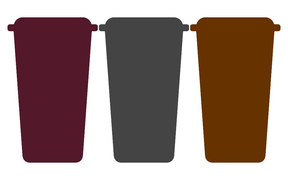 Wheelie bins - Green, Brown, Grey and Burgundy
