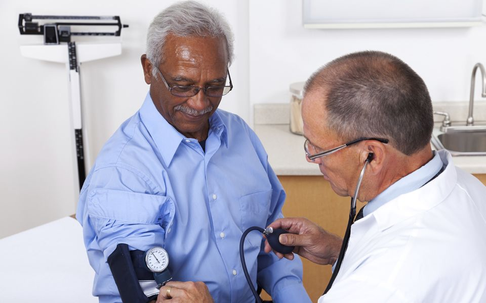 Blood pressure testing at a GP surgery