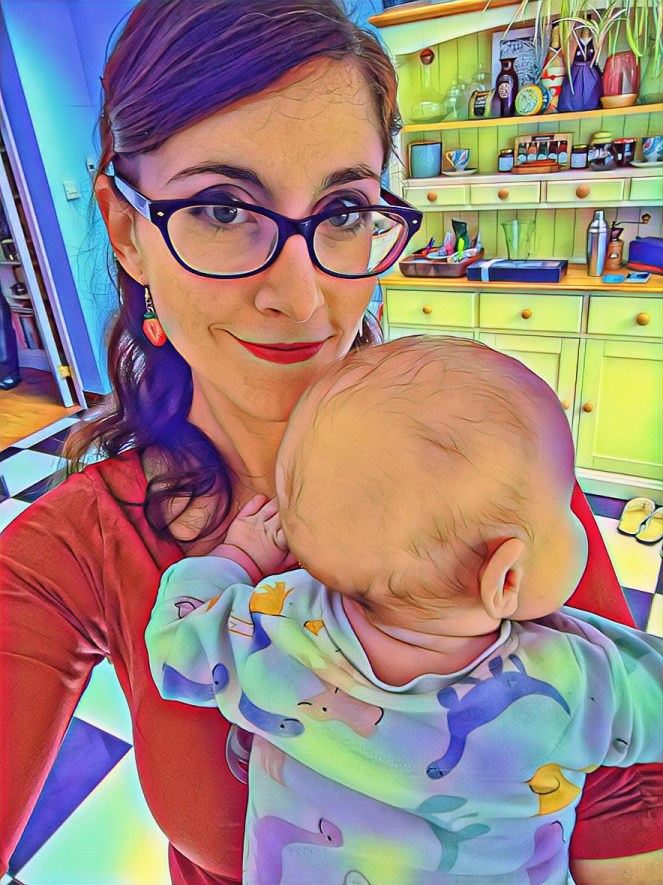 Image of the sickly mama and baby in the kitchen