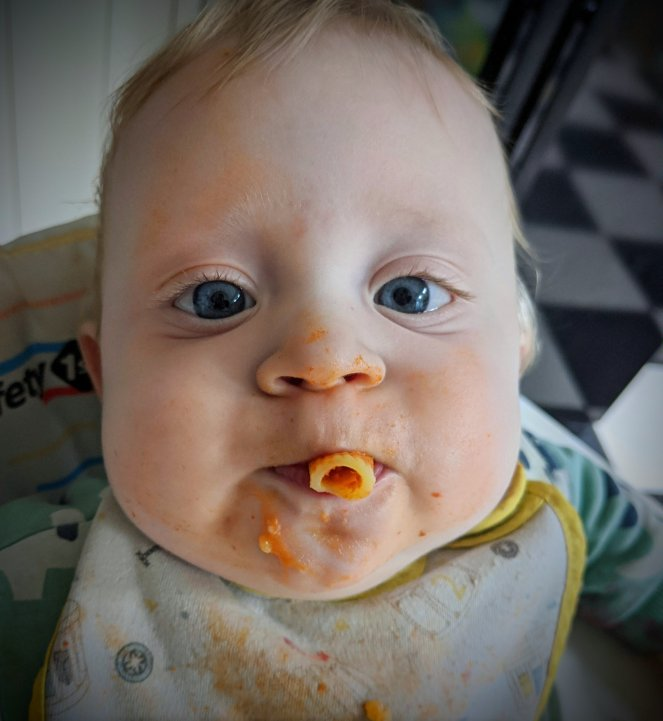 baby eating pasta all'amatriciana unusual weaning foods the sickly mama blog tomato sauce on face