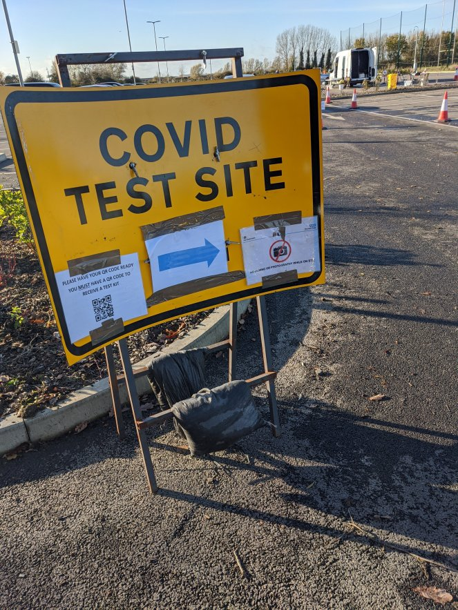 covid test site sign coronavirus UK testing site qr code drive through walk in the sickly mama blog