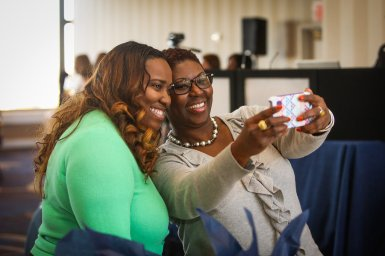 Attendees enjoyed taking selfies with the speakers
