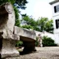 A bench seen in the backyard & visitor entrance. Edith Wharton Estate & Gardens.  Lenox, MA