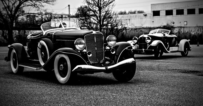 1933 Auburn V12 12-165 Speedster with the 1928 Auburn 8-88 Boat Tail Speedster in the background. The Stevens Trophy: An American Manufacturers Performance Contest. Simeone Museum Demo Day. Philadelphia, PA