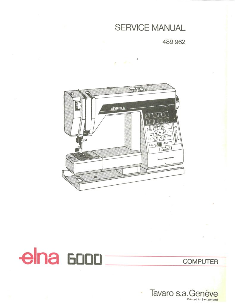 Service Manual Elna 6000 Sewing Machine manual