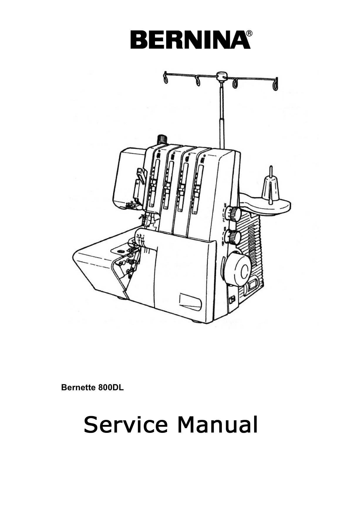 Service Manual For Bernina 800D, 800DL Serger Sewing Machine