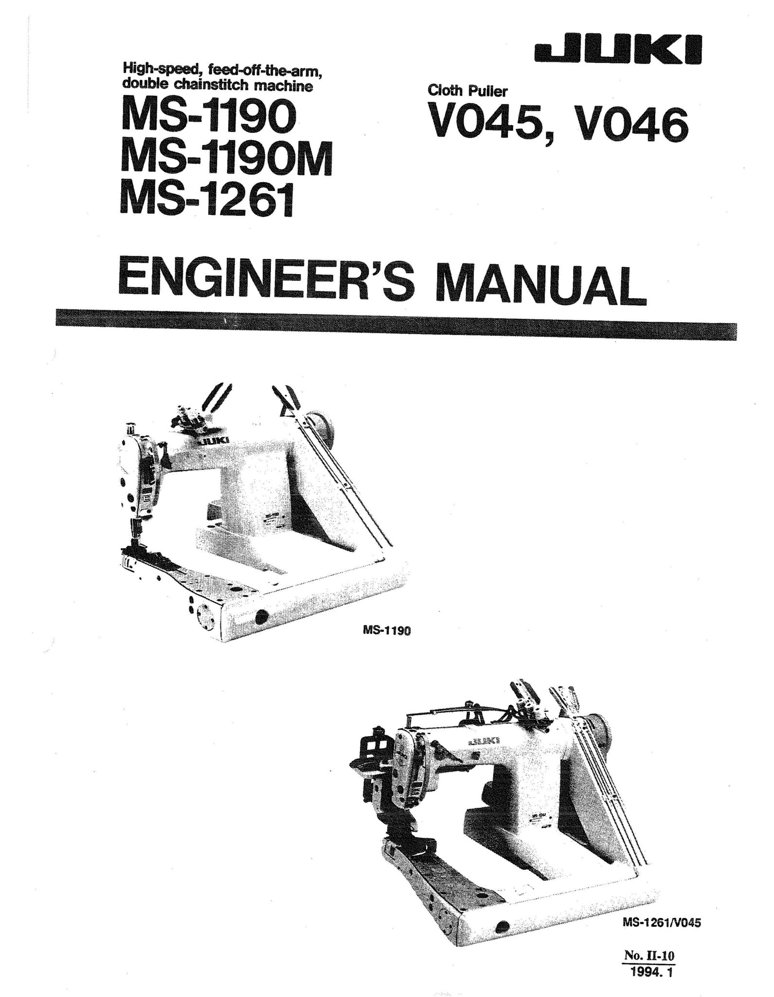 Service Manual MS-1190, 1190M, 1261, VO45, VO46 Series Sewing