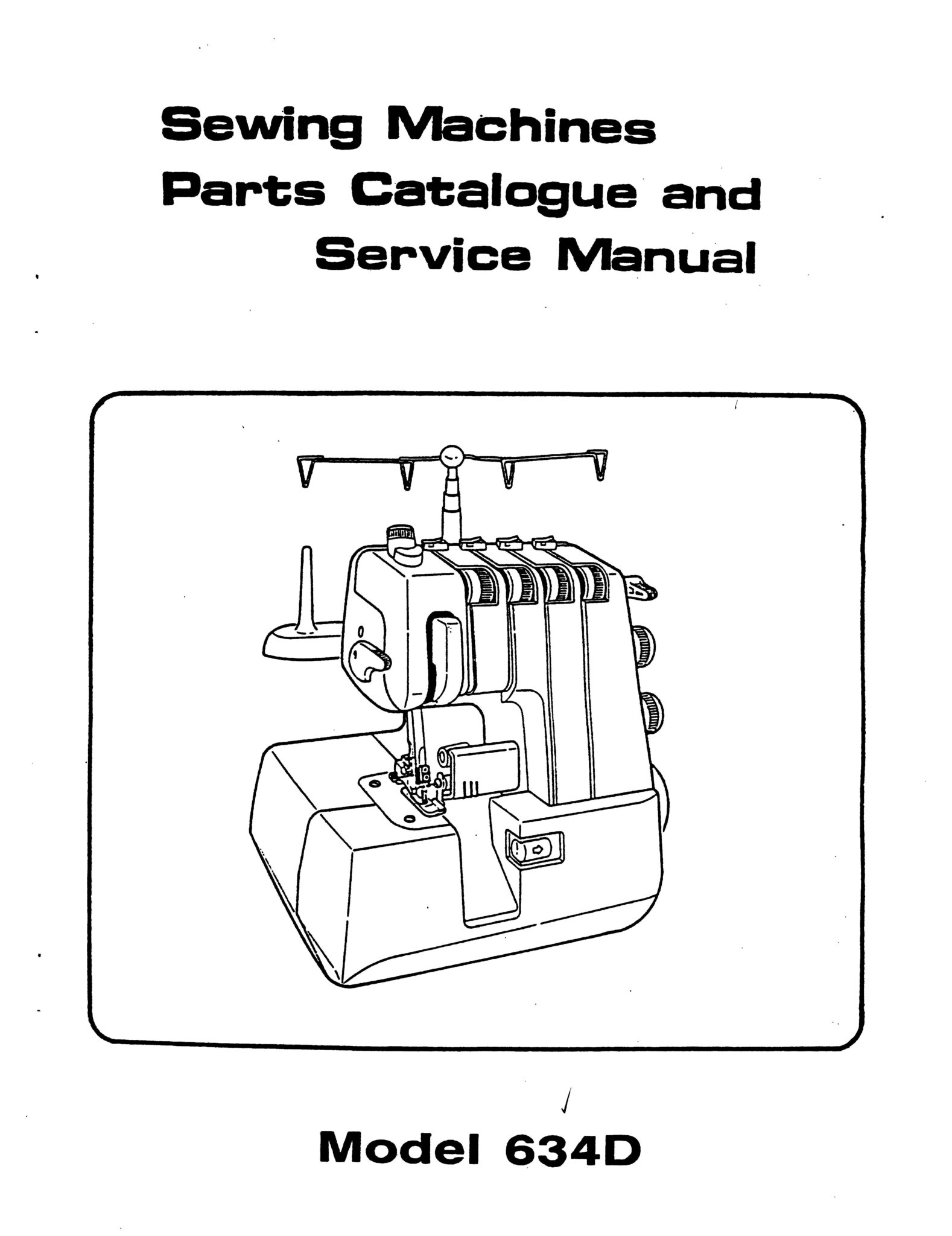 Service Manual & Parts List White 634D Seger Sewing Machine