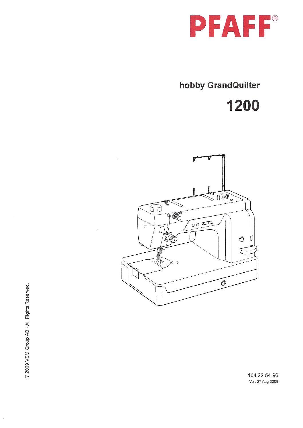 Service Manual Pfaff Hobby 1200 Grand Quilter Sew Machine