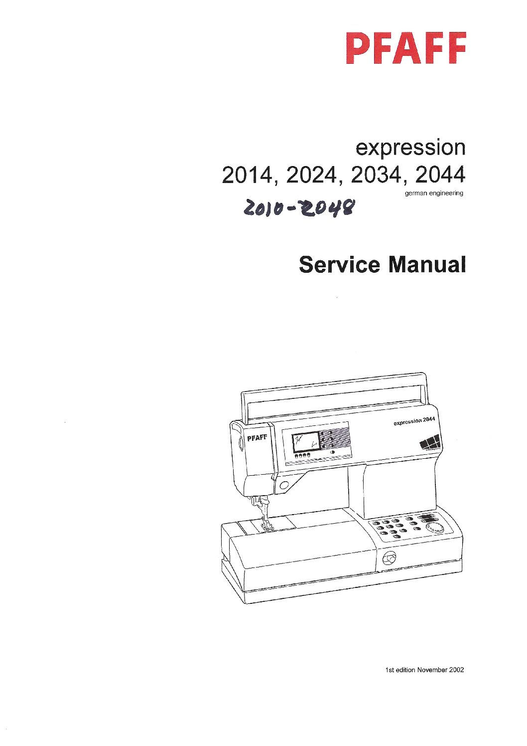 Service Manual Pfaff Expression 2010-2048