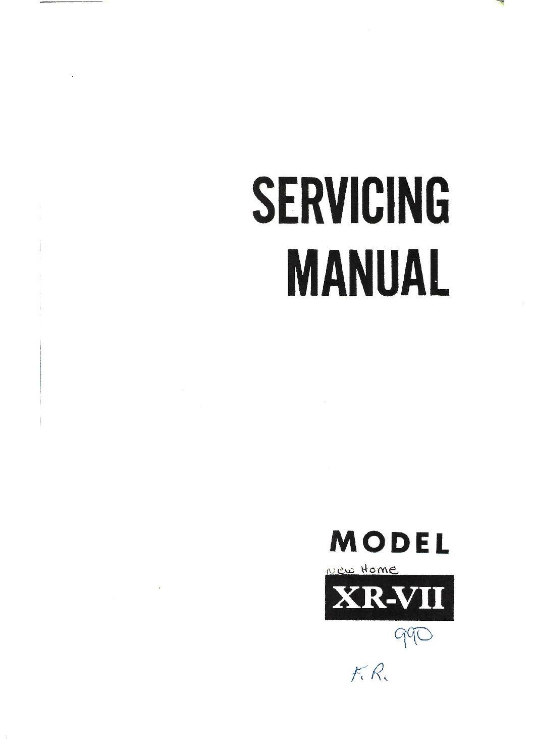 Service Manual Janome 990 XR-VII Sewing Machine