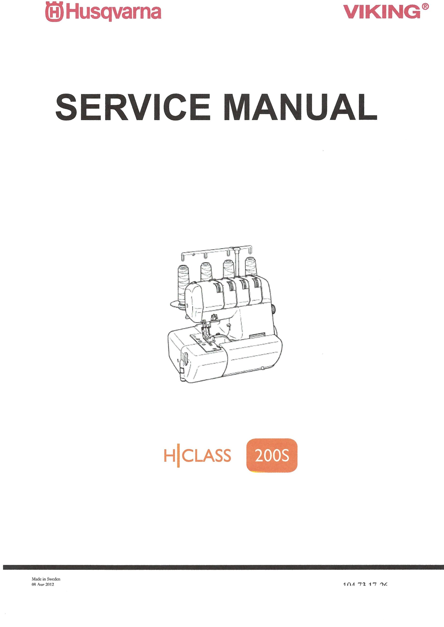 Service Manual Viking H-Class 200S Serger Machine