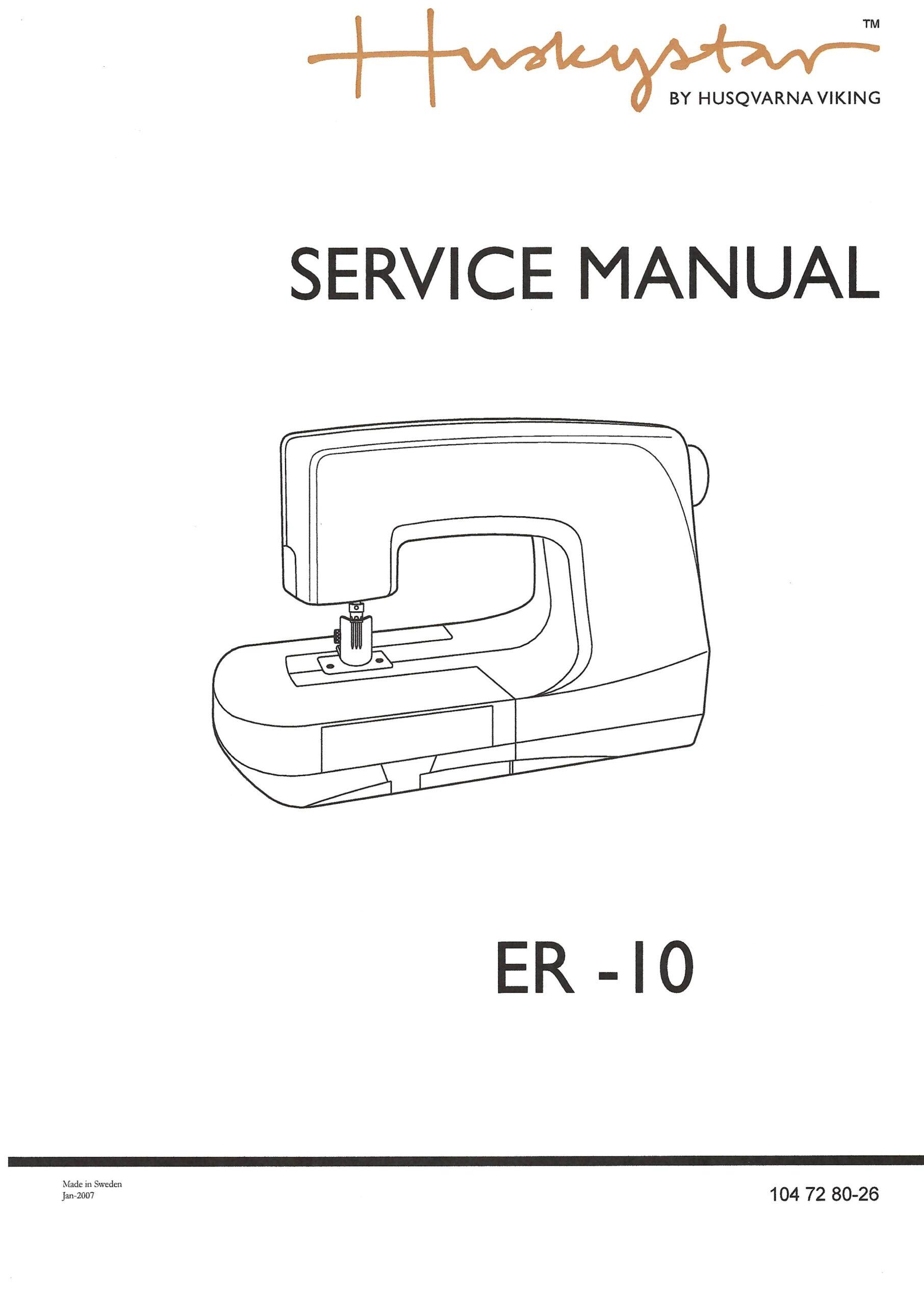 Service Manual Viking Huskystar ER-10, H-Class Sewing Machine