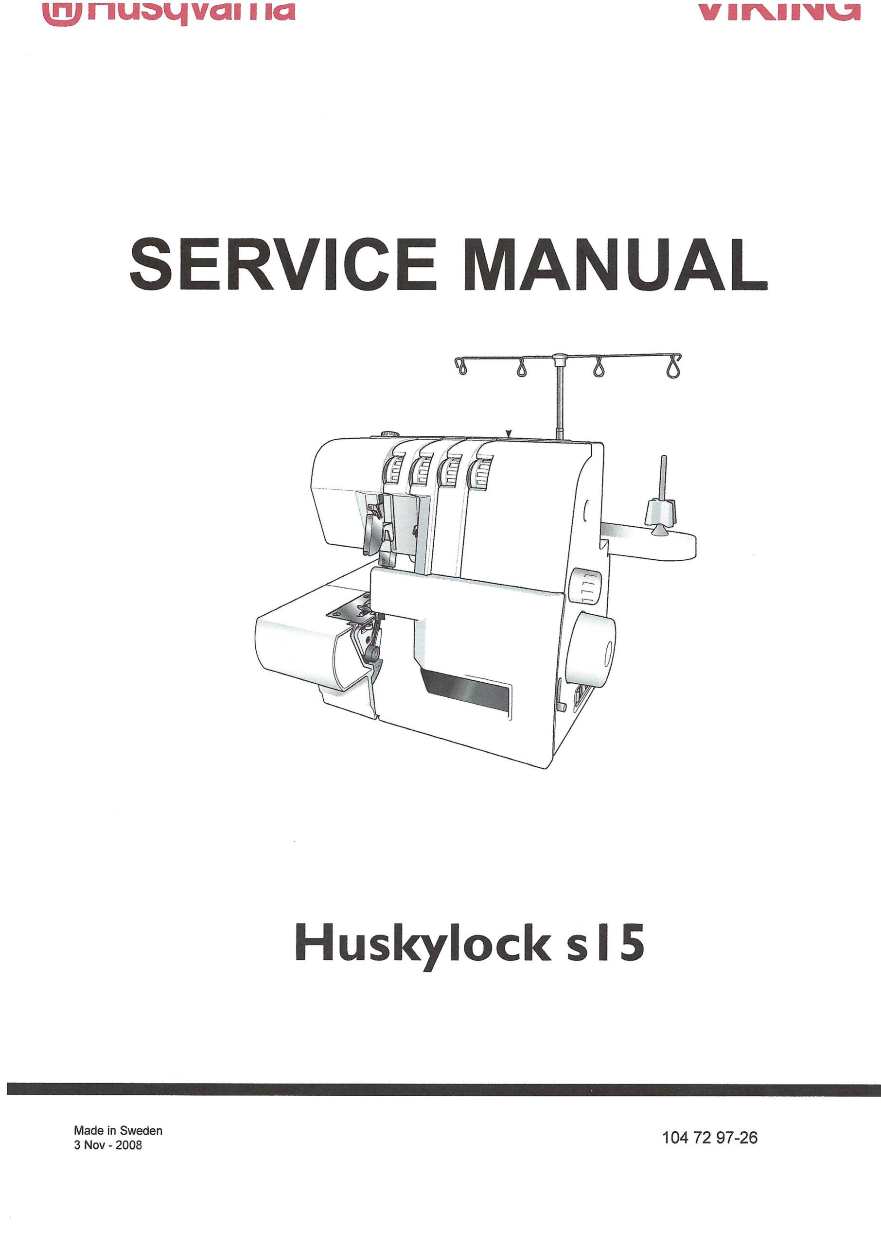Service Manual Viking Huskylock S-15 Serger Machine